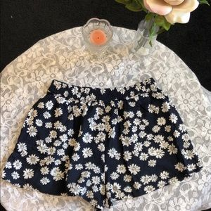 Forever 21 Dark Blue White Floral Rayon Shorts